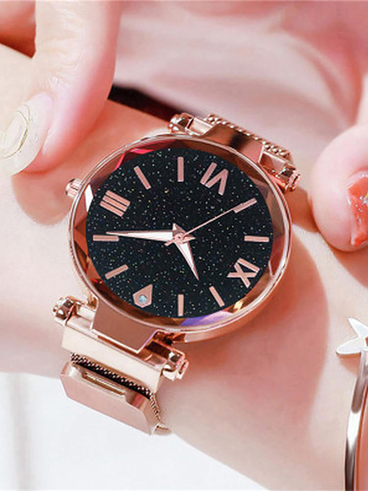 Quartz Watches Numerals-Clock Crystal Starry Sky Magnetic Stainless-Steel Ladies Women Luxury