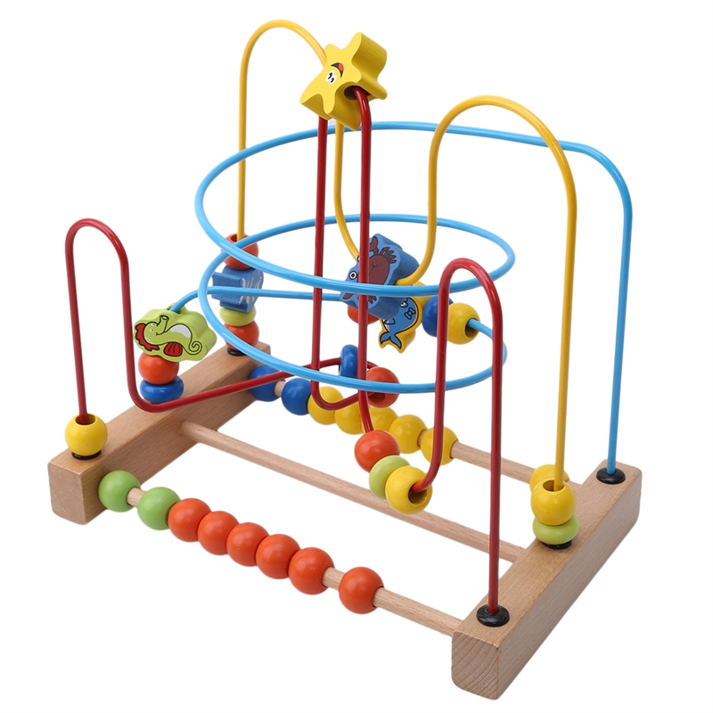 Wood Garden Wooden Children'S Educational Hands Pull Toys Wood Cartoon Trailer Bead-stringing Toy Brain Game Toy