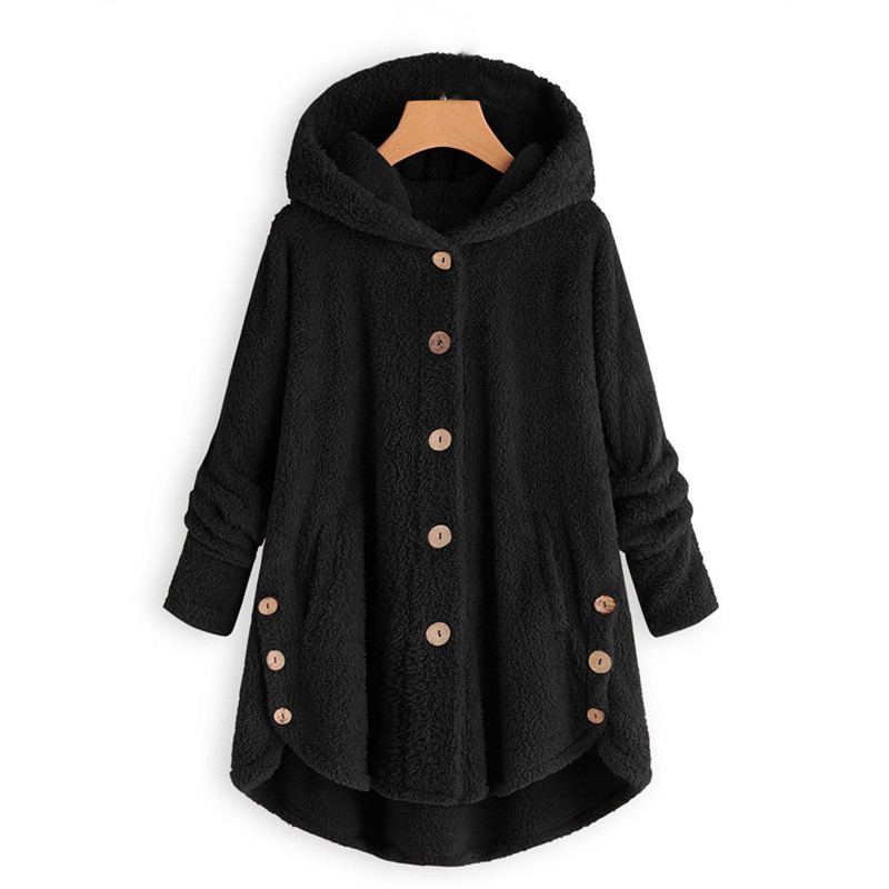 Women's Sweater And Turtleneck Fashion Button Coat Fluffy Tail Tops Hooded Loose Sweater Women's Cardigans Feminino