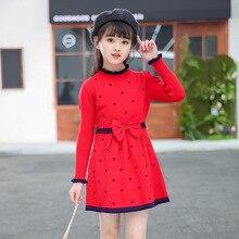 Новая стильная одежда для маленьких девочек на весну и осень; цельнокроеное трикотажное платье с длинными рукавами и бантом в виде сердца; трикотажная одежда с заниженной талией без капюшона