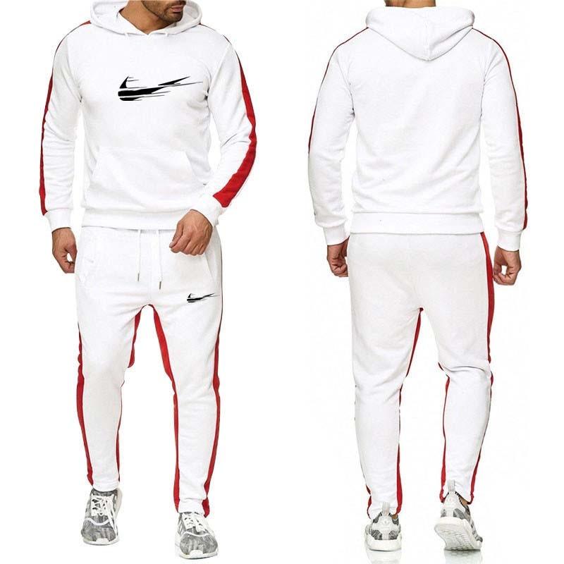 two piece set warm sport suit men winter velvet tracksuit velour hoodie sweatshirt track pants sweat suits jogging sweatsuit-in Men's Sets from Men's Clothing