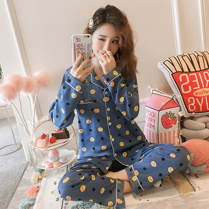 Autumn Pajamas Women's Korean-style Cute Cardigan Long Sleeve Tracksuit Loose-Fit Set M-XXL Original Photo Shoot