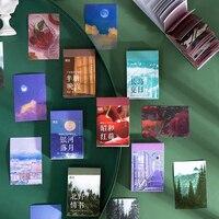 50 hojas autoadhesivas de escena de atardecer Natural, pegatinas de almohadilla decorativas de Luna y nube para álbum, diario, manualidades, bricolaje