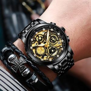 Image 4 - NEKTOM Wrist Watches Men Top Brand Luxury Golden Chronograph Mens Watch Gold Big Dial Man Wristwatch Relogio Masculino