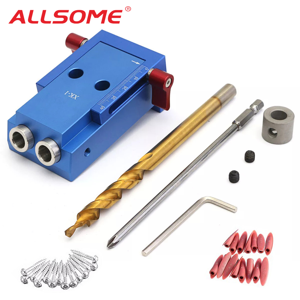ALLSOME Woodworking Tool Pocket Hole Jig Woodwork Guide Repair Carpenter Kit System with 9.5MM Step Drill Bit HT984