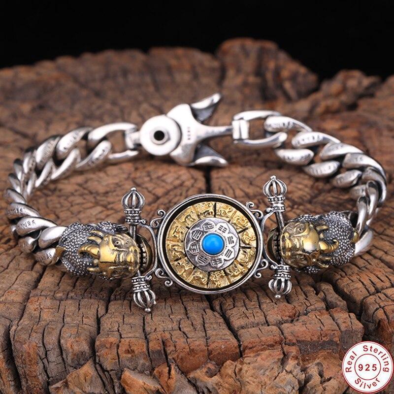 Buddha Men male Bracelet 100% Real 925 sterling silver colour Ethnic Buddhist Heart Sutra Letter Bracelet Bangle fine jewelry