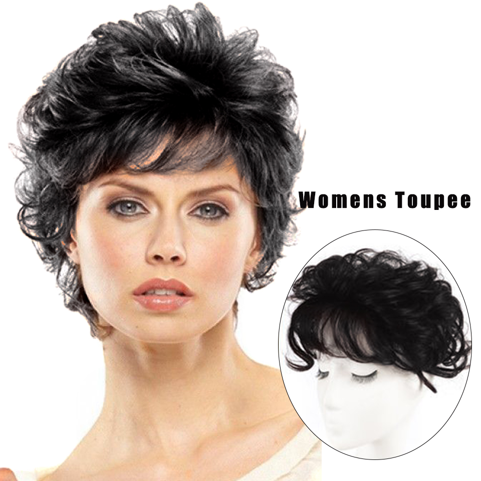 LUPU короткие волнистые человеческие волосы Топпер с челкой зажим для наращивания волос черные коричневые натуральные кусочки искусственны...