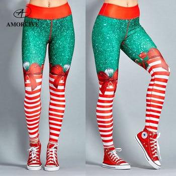 AMOR LIVE Christmas Print Fitness Pants For Women High- waist Fashion Woman Slim Pants Yoga Pants leggings