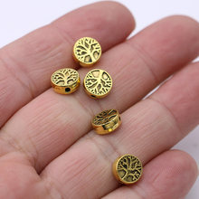 20 pçs ouro cor árvore da vida solta espaçador grânulos para fazer jóias pulseira diy colar acessórios artesanato 9mm