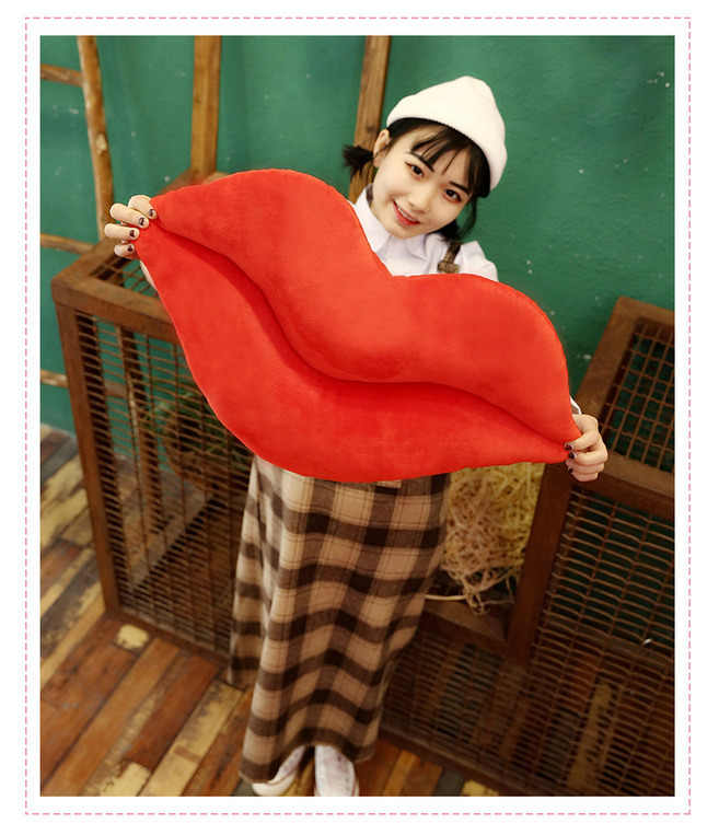 Mignon doux oreiller lèvre en forme rose rouge 30 cm baiser Pad décoration de la maison en peluche jouet canapé jeter coussin coussins de siège Xma