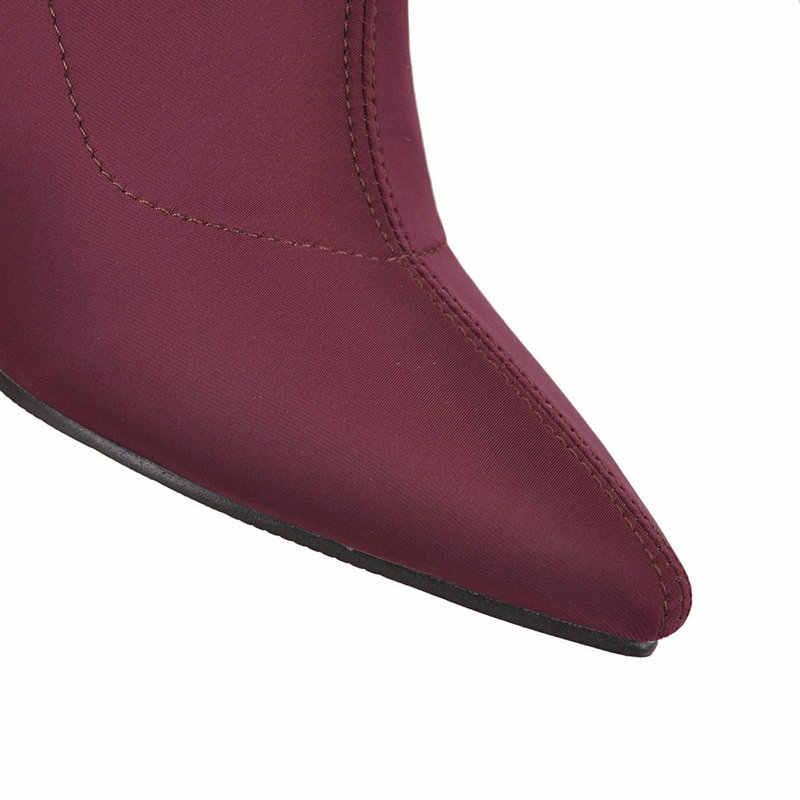 Streç Çorap yarım çizmeler Kadınlar Sivri Burun Yüksek Topuklu Çizmeler Sonbahar Kış Blok Topuk bayan Botları 2019 Şarap Mavi siyah çizmeler