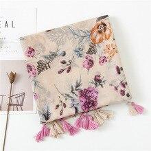 2020 шарф женский foulard femme Japan stye tassels printed scarf wome