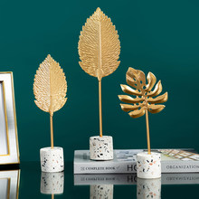 Gold Leaf Home Decoration Accessories Modern Living Room Flower Ornaments Miniature Metal Figurine Wooden Office Desk Decoration