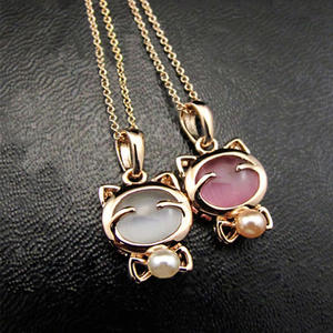 Pendant Necklace Opal Fashion Jewelry Ladies Accessories Cat Elegant Lucky Bohemian Cute