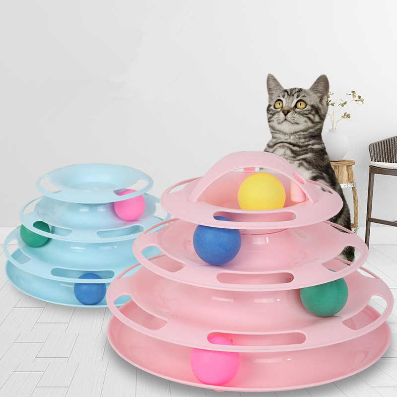 Pet Gatto Giocattolo Torre Tracce Disco Gatto il Gioco su disco Pista Cat Giocattoli di Divertimento di Divertimento Palla di Formazione di Intelligenza Piastra