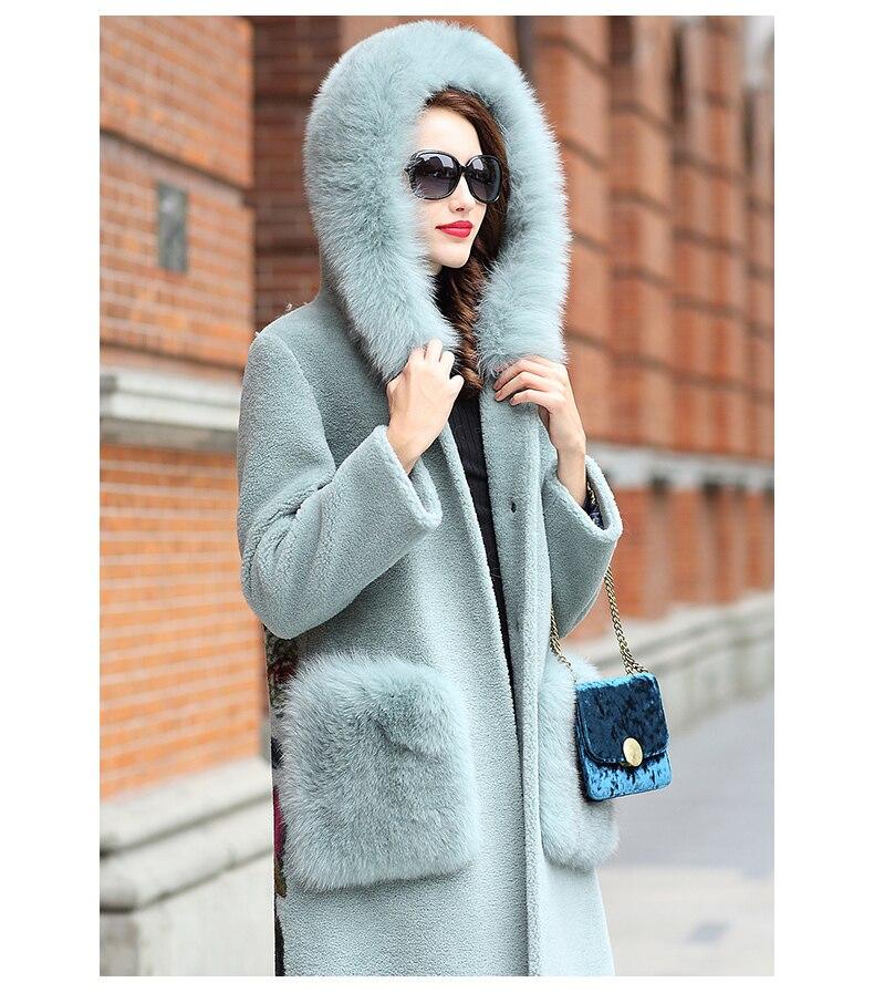 Sheep 2020 Shearling Real Fur Coat Female 100% Wool Coat Winter Jacket Women Fox Fur Collar Korean Long Jackets MY4365 S