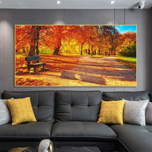 Autumn Park Red Leaves Landscape Canvas Painting Sunset Poster and Print Wall Art Picture for Living Room Home Decoration Cuadro