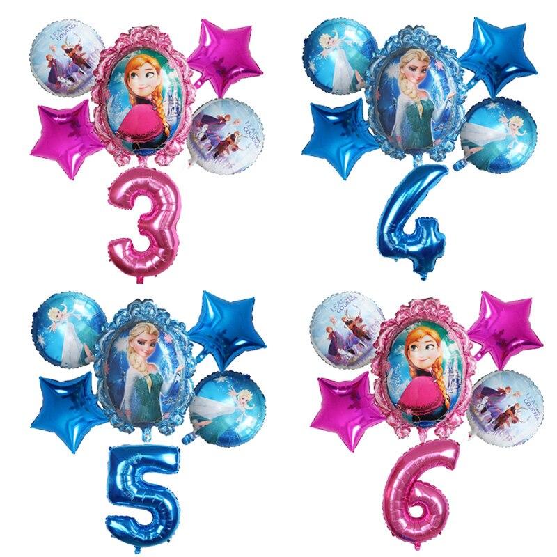 """6 шт Disney принцессы из мультфильма """"Холодное сердце"""" Эльза гелиевые шары-цифры мяч Baby Shower украшения воздущные шары Детские игрушки День рож..."""
