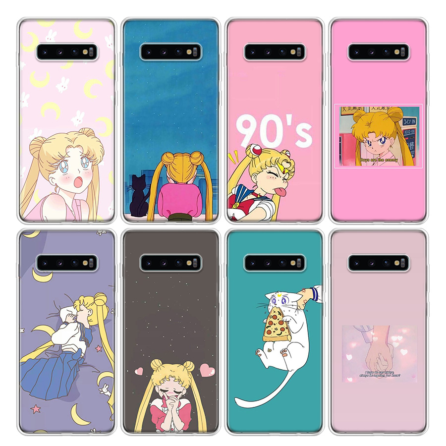 Sailor Moon Anime cute Phone Case For Samsung Galaxy A51 A71 A50S A10 A20E A30 A40 A70 A01 A21 A41 A11 A6 A7 A8 A9 Plus + Cover image