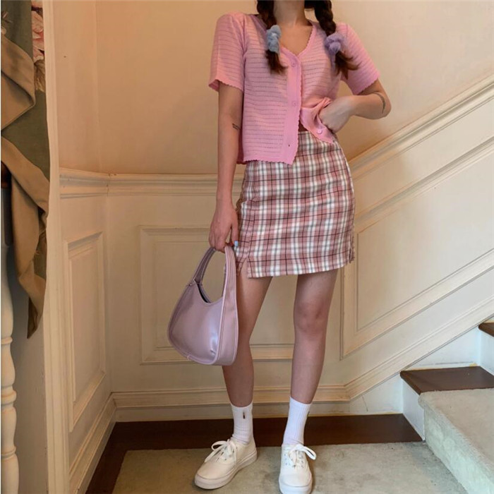 Ha9cfce5de176457c83a0fb7b25d15b1fz - Korean Colored Plaid Skirt Women Student Chic Short Skirts Fashion Sexy Mini Skirts Spring Summer Female Skirts
