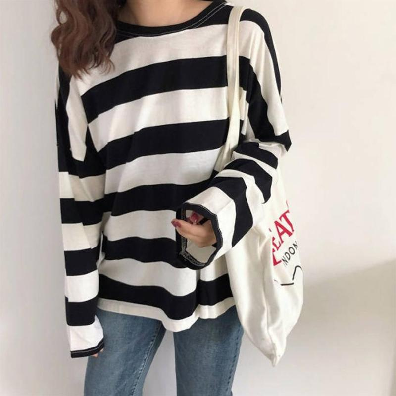 Striped Tees Round Neck T-shirts Women Long Sleeve Loose Pullovers Tops
