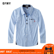 GFMY 2019  Autumn 100% Cotton Full Sleeve Solid Color Blue boys white Shirt 3T-12T Kid Casual School Clothes Gift Bow Tie