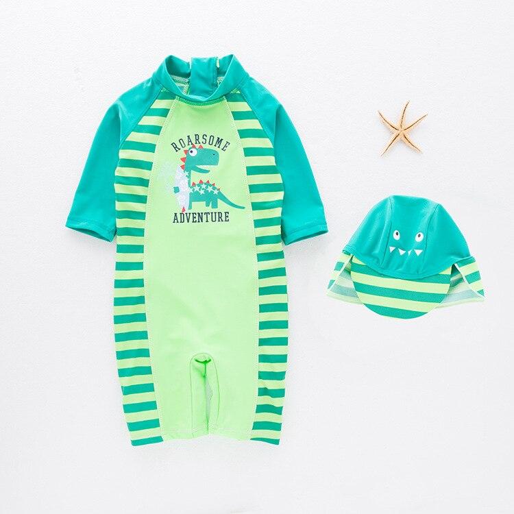 KID'S Swimwear Boys' Cotton One-piece Swimsuit Dinosaur Baby Swimwear Beach Hot Springs Sun-resistant BABY'S Swimsuit