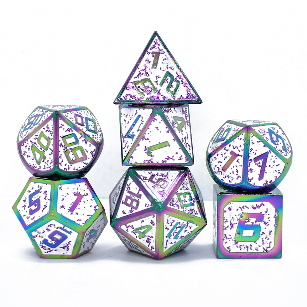 Dice Set Dnd Design Dragon Scales Metal Dice 7pcs With Pouch For Dungeons And Dragons RPG MTG Board Games D4 D6 D8 D10 D12 D20