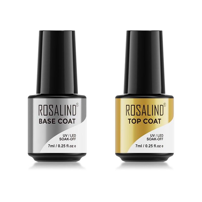 ROSALIND 7ml Base&Top Coat Gel Nail Polish Transparent Nail Primer Semi Permanent For Nail Art Design Soak Off Gel Varnish