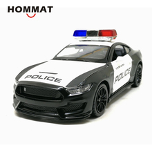 HOMMAT 1:32 Scale Ford Shelby Mustang GT350 Police 911 Alloy Toy Car Models Diecast Metal Vehicle Model Cars Toys For Children