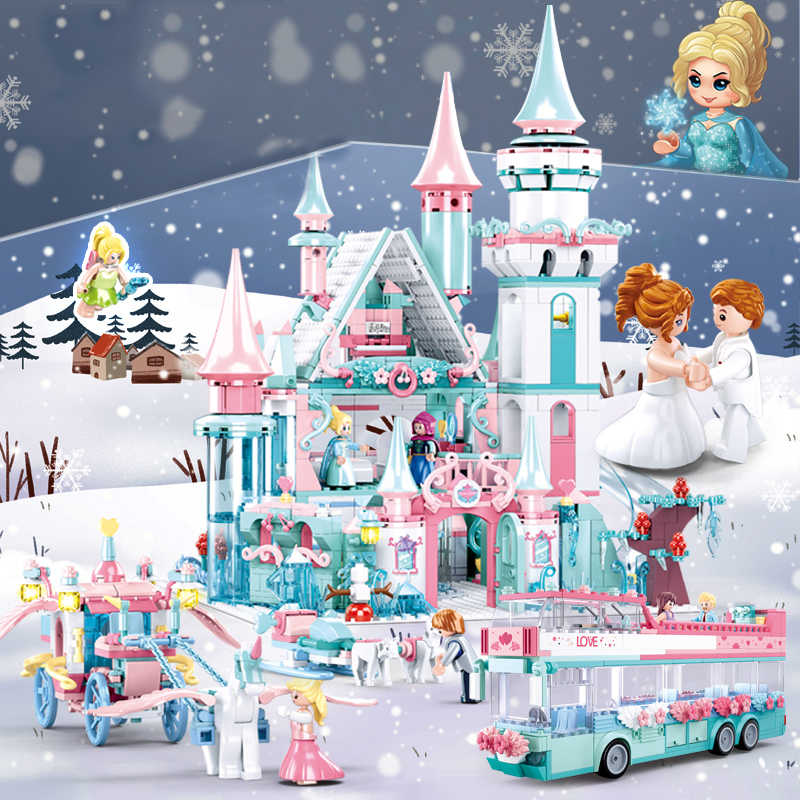 QWZ Friends Ice Princess Castle Building Block Christmas Winter Snow House Cartoon Brick Toys for Girls Toys for Children Gift