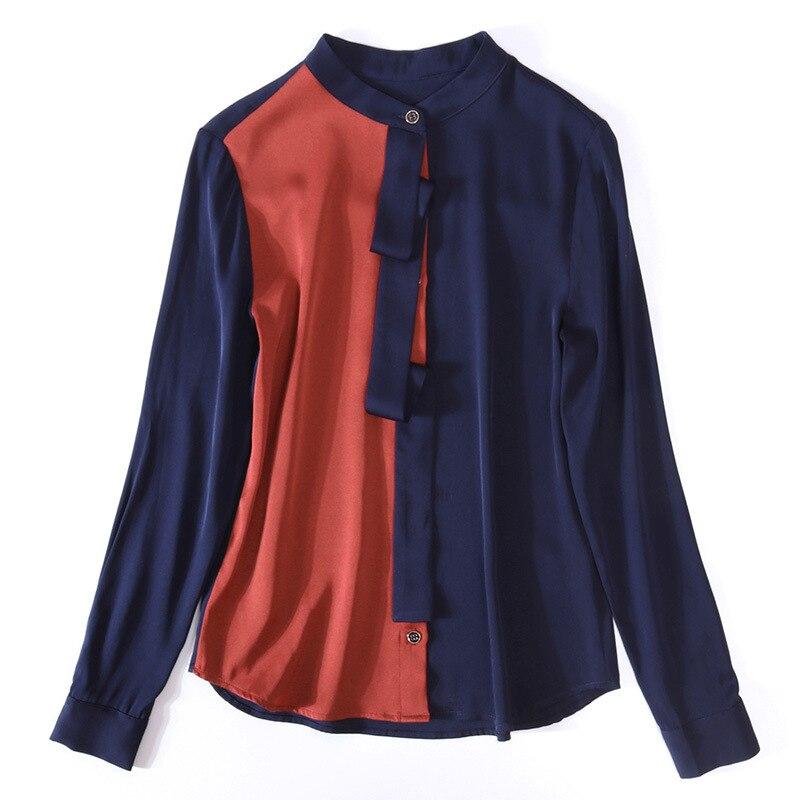 Blusa de seda de calidad superior camisa 2020 estilo primavera mujer bloque de Color Patchwork manga larga marrón blanco elegante camisas de trabajo femenino - 6