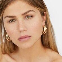 JUST FEEL новые серьги-кольца золотого цвета для женщин модные минималистичные толстые круглые кольца из цинкового сплава серьги Подарки