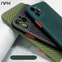 NFH Atmungsaktiv Kühl Silikon Telefon Fällen Für iPhone 11 Pro 12 Mini X XR Xs Max Weiche TPU Abdeckung Auf iPhoen SE 2020 6 6S 7 8 Plus
