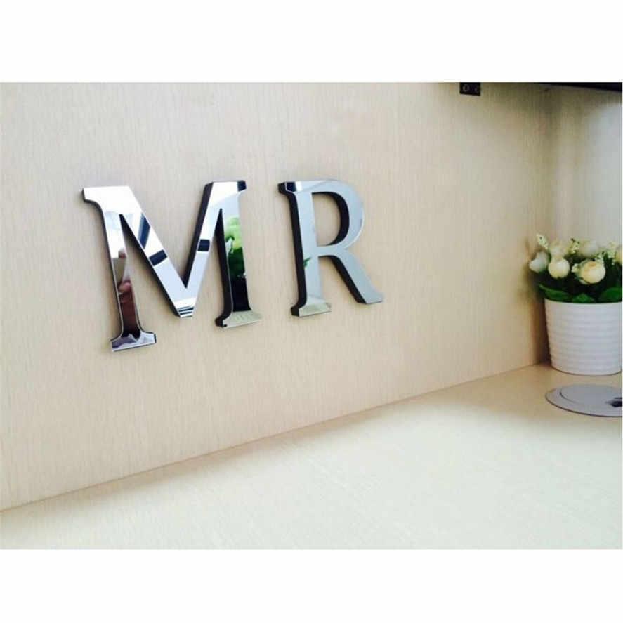 1PC grand argent 26 lettres bricolage 3D miroir autocollant Mural 30cm chambre décor à la maison miroir mur Art Mural autocollant D11 #30