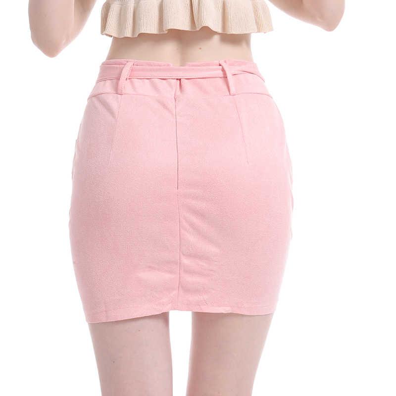 Bất Đối Xứng Dây Da Lộn Váy Nữ Ôm Body Da Mùa Xuân Váy 2020 Mới Gợi Cảm Dạo Phố Cao Cấp Băng Váy Ngắn Femme