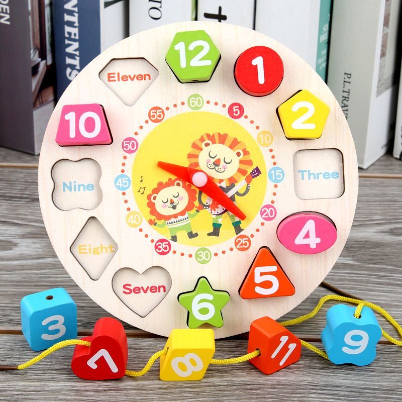 Children With Numbers Beaded Bracelet Clock Wood Building Blocks Cognitive Matching Toys 3-4-6-Year-Old Toy Sets