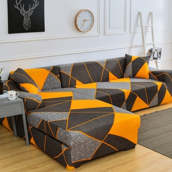 Printed and All Wrapped Sofa Covers with Elastic and Straps for Corner and Sectional Sofa in Home and Office