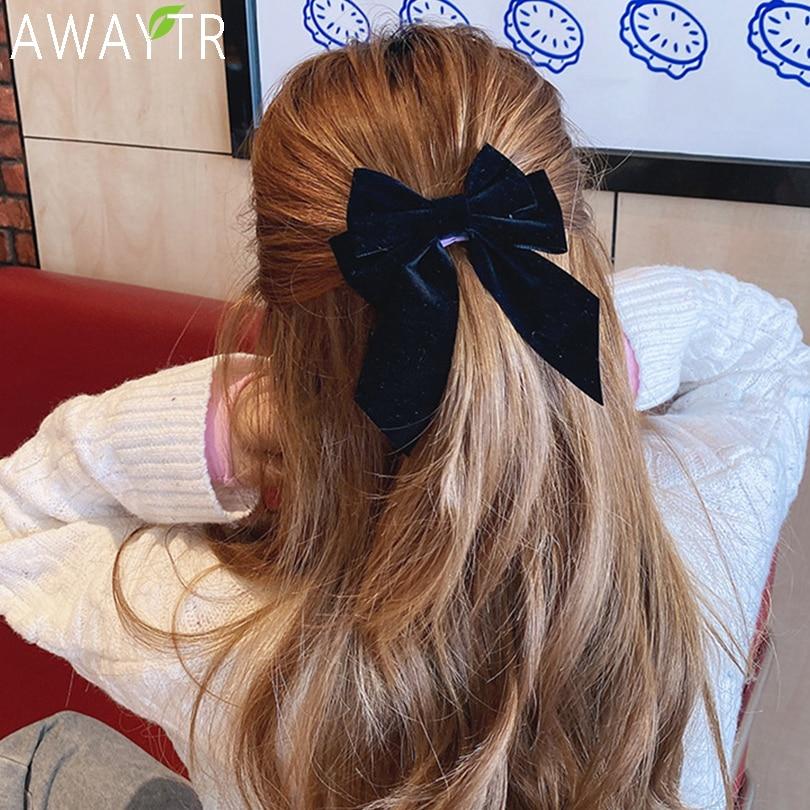 Forcine per capelli a fiocco grande in tinta unita per ragazza Barrette Clip per capelli popolari cravatte accessori per capelli in raso a due strati per donna