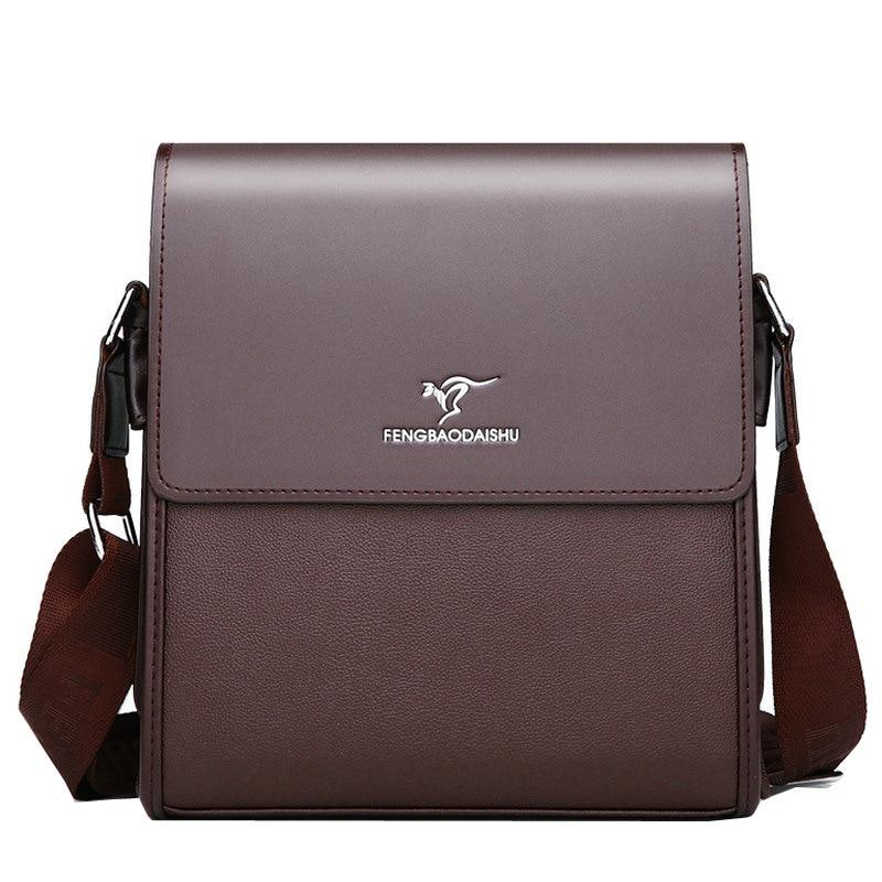 Business Men's Shoulder Bag Small Purse Hasp Cellphone Solid Color Crossbody Messenger Bag Flap Work Bolsos PU Leather Sling Bag