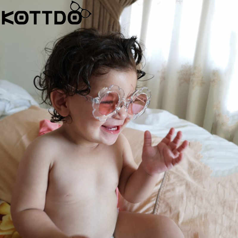 ELATOPS Vintage Kids Sunglasses Child Sun Glasses Round Flower Baby Children UV400 Sunglasses Girls Boys