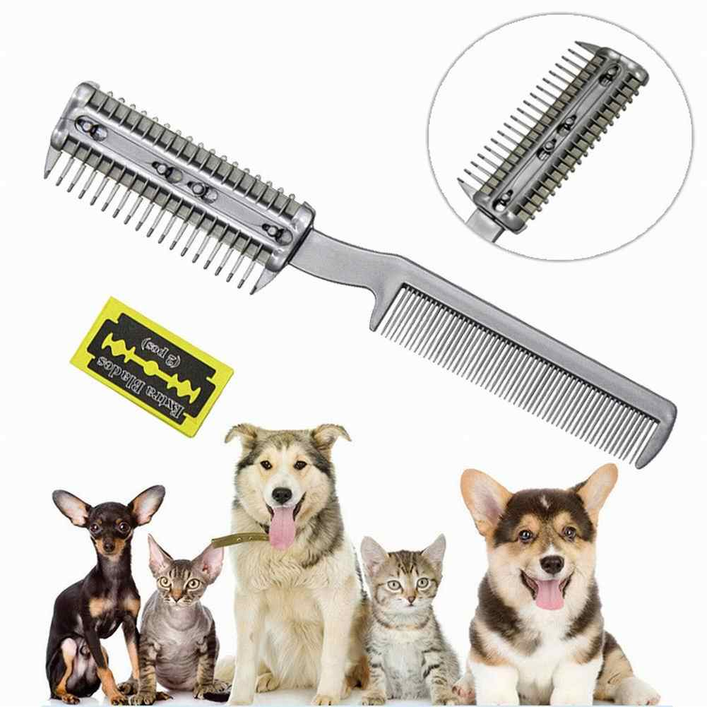 Ручная Бритва для волос с расческой для домашних животных, двойной триммер для волос, стильная Расческа для стрижки собак кошек с 2 лезвиями, многофункциональный дизайн