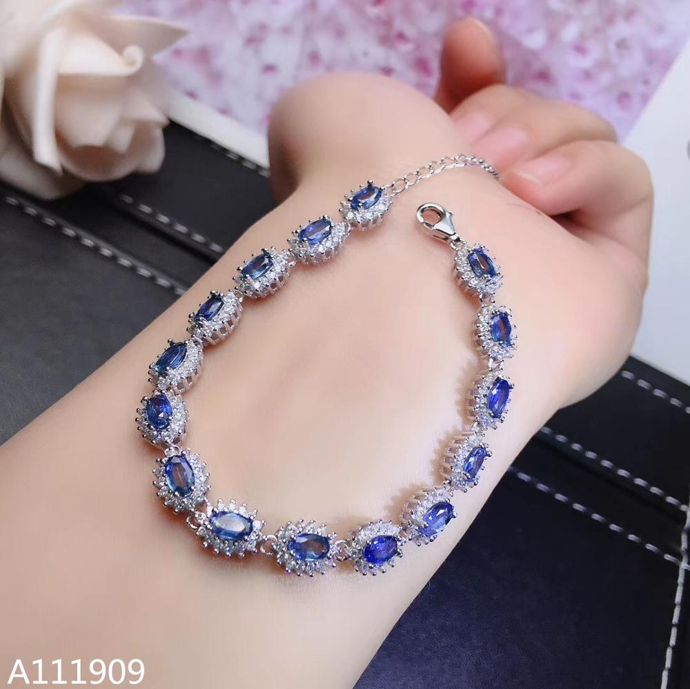 KJJEAXCMY boutique jewelry 925 sterling silver inlaid Natural sapphire Women's Bracelet support detection fine