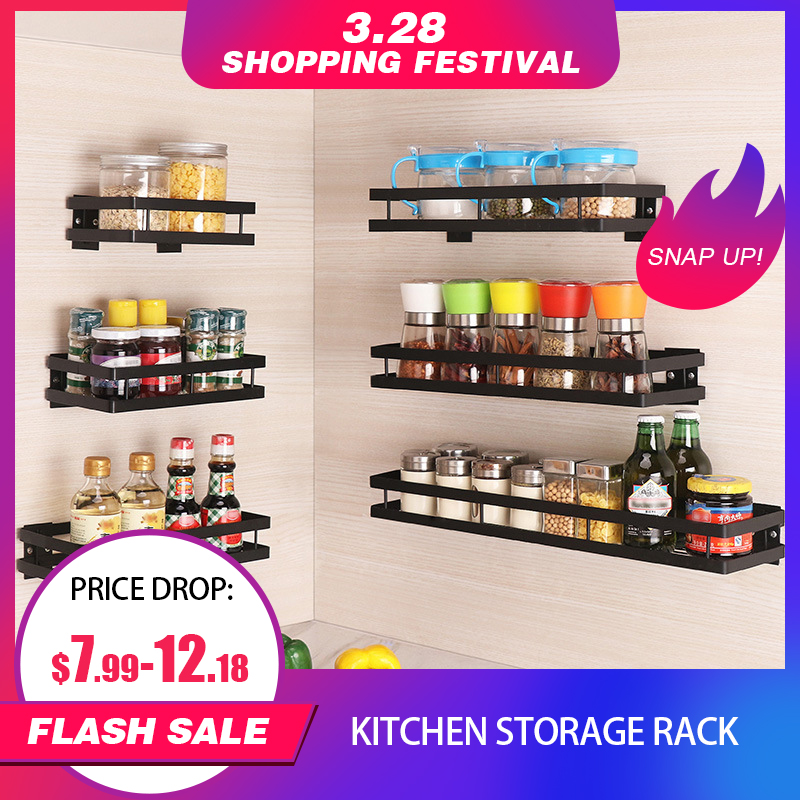 Kitchen Shelf Storage Holder Seasoning Rack Perforated Wall-Free Spice Rack Bathroom Storage Organizer Kitchen Storage Supplies