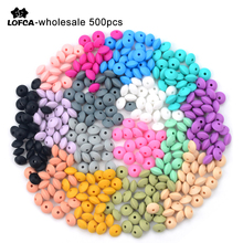 Wholesale 500pcs/lot Lentil Beads Silicone BPA Free 12mm & 15mm Silicone Jewelry Teething DIY Necklace Pacifier Chain Accessory