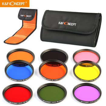 K&F Concept 9pcs 58mm Round Full Color ND Lens  Accessory Filter Kit For Canon EOS For Nikon With DSLR Cameras Filter Pouch nisi 58mm nd1000 ultra thin neutral density filter 10 stop for digital slr camera nd 1000 58mm slim lens filters