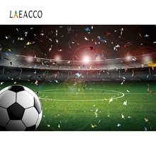 Laeacco Foto Hintergründe Fußball Fußball Grün Gras Stadion Bänder Party Baby Geburtstag Fotografie Hintergrund Für Foto Studio