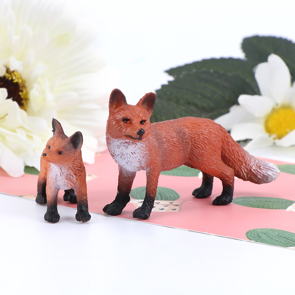 Mini Simulation Red Fox Models Home Garden Statues Ornaments Figurine Forest Decoration Educational Toys Gifts For Baby Kids