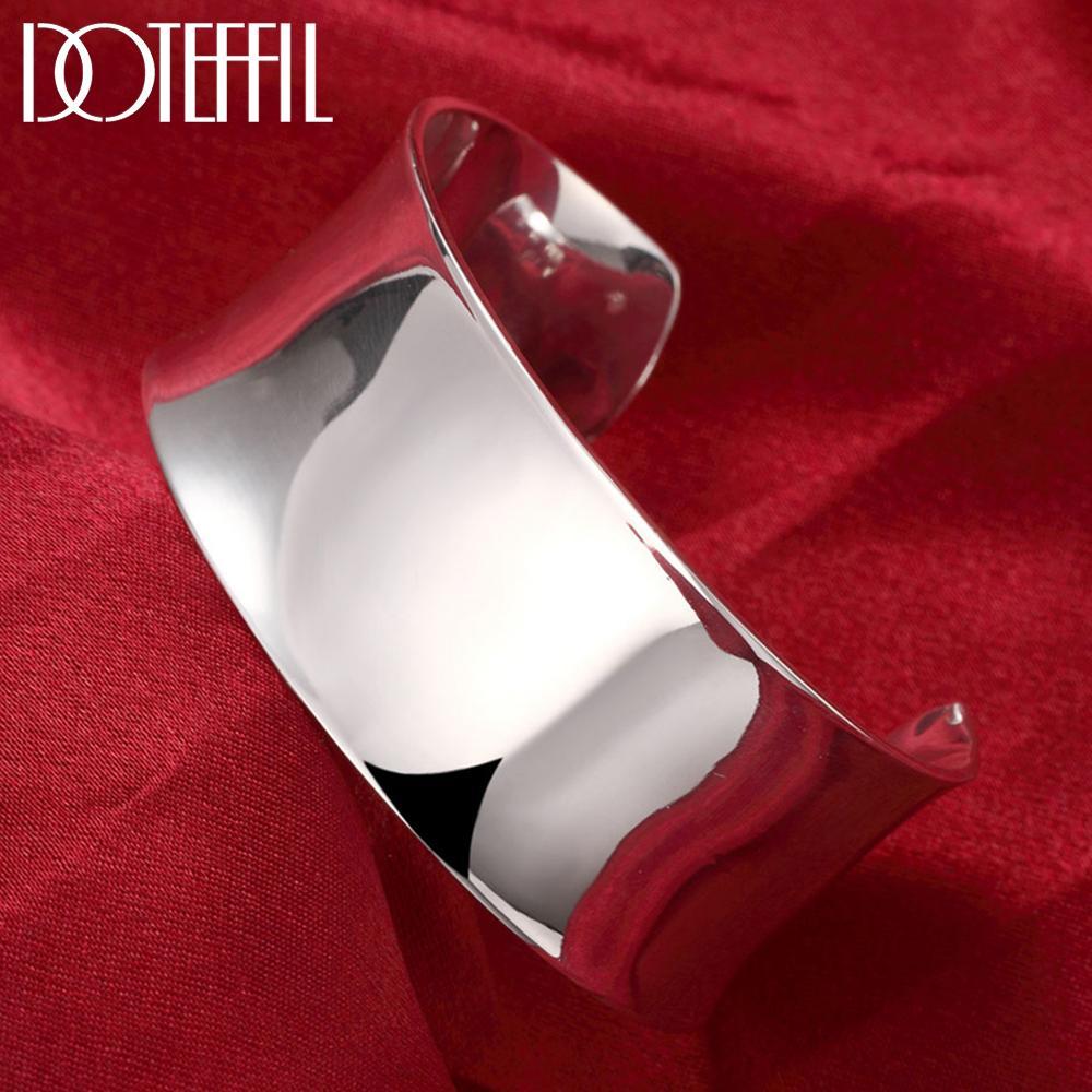 Neue Ankunft Reine 925 Sterling Silber Armreif Armbänder Frauen Glatte Öffnen Armband Mode Schmuck Engagement Weihnachten Geschenk