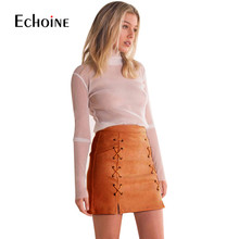 Sexy Mini Faux Leather Skirt High Waist Skirt Women 2019 Suede Skirt Autumn Winter Womens Lace Up Pencil Pocket Skirts Saia New diy lace up grommet sequined mini skirt